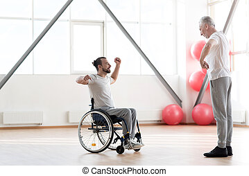 formation, orthopedist, impliqué, jeune, handicapé, patient