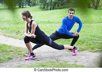 formation, parc, couple, jeune