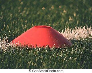 formation, peint, playfield., artificiel, marque, arrière-plan vert, marques, gazon, blanc, football, ligne