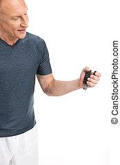 formation, pince, main, arrière-plan., serrage, tenant mains, blanc, vieilli, homme