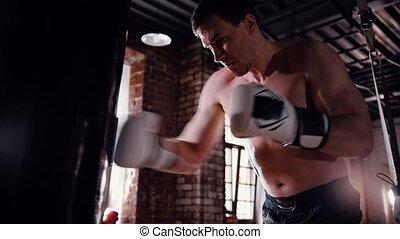 formation, sac gymnase, boxeur, frapper, agressif, homme