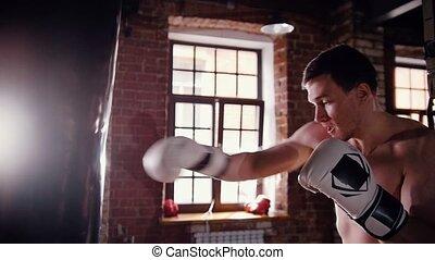 formation, sac gymnase, boxeur, frapper, homme