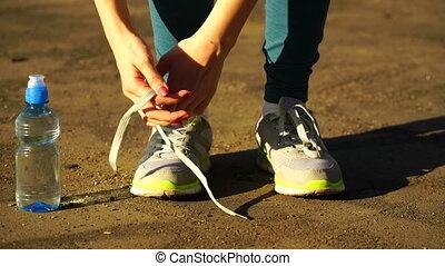 formation, shoes., courant, arrêté, dentelles, fitness, cravate, outdoors., girl, 4k