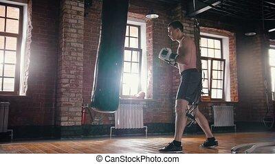formation, sien, athlétique, gymnase, boxe, techniques, clair, homme