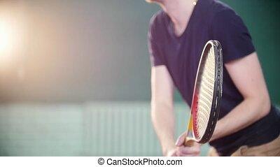 formation, tennis, jeune, indoors., jouer, homme