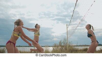 formation, tribunal, femme, plage, équipe, sable, ...