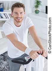 formation, vélo, sourire, beau, exercice, homme