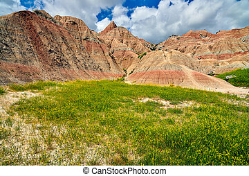 Colorful formations at Badlands National Park, South Dakota.