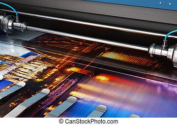 formato, colora fotografia, grande, imprimindo, plotter,...
