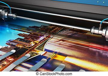 formato, colore foto, grande, impresión, trazador, bandera