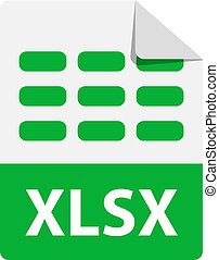formato, extensiones, vector, icon., icono, archivo, verde, xlsx.