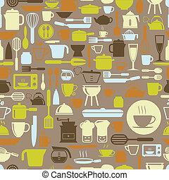 formato, padrão, seamless, cor, vetorial, retro, ferramentas, cozinha