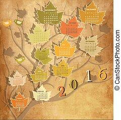 forme, 2016, arbre, calendrier