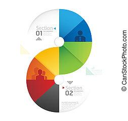 forme abstraite, infographic, conception, style, disposition, /, gabarit, infographics, cercle, minimal, site web, être, utilisé, horizontal, coupure, numéroté, graphique, lignes, vecteur, boîte, bannières, ou