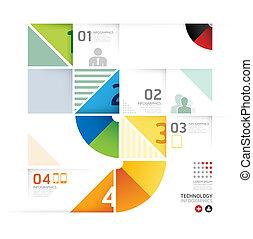 forme abstraite, infographic, conception, technologie, style, disposition, /, gabarit, infographics, cercle, minimal, site web, être, utilisé, horizontal, coupure, numéroté, graphique, lignes, vecteur, boîte, bannières, ou