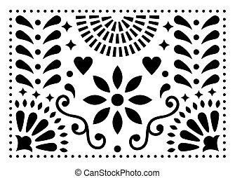 forme art, coloré, mexique, inspiré, modèle, traditionnel, vecteur, conception, mexicain, fleurs, folklorique