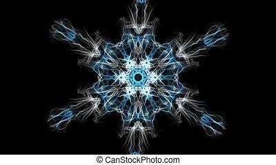 forme, blanc, bourdonner, méditation, calmer, flocon de neige, noir, arrière-plan., fractal, bleu, excersises., mandala, vivant, tourner