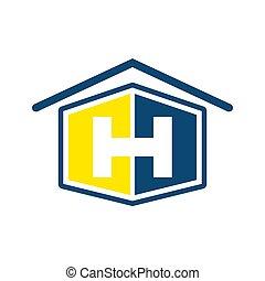 forme bleue, initiale, jaune, lettre, maison, h