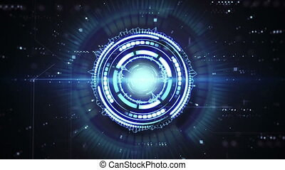 forme bleue, techno, boucle, animation, futuriste, circulaire