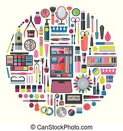 forme, cercle, outils, cosmétique, maquillage