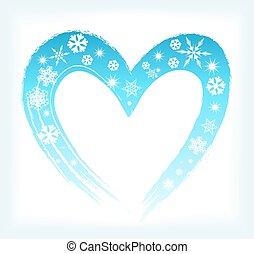 forme coeur, à, snowflakes., hiver, fond