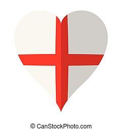 forme coeur, angleterre, isolé, drapeau