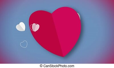 forme coeur, animation, carte rouge