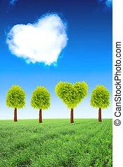 forme coeur, arbre, champ vert