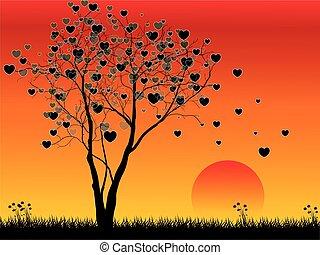 forme coeur, arbre, coucher soleil, fond