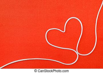 forme coeur, arrière-plan rouge