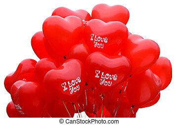 forme coeur, ballons