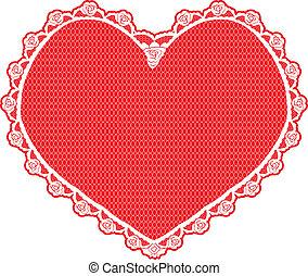 forme coeur, blanc, napperon, dentelle