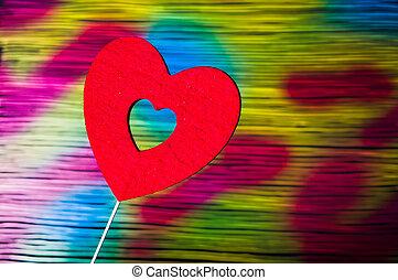 forme coeur, contre, coloré, main, peint, fond