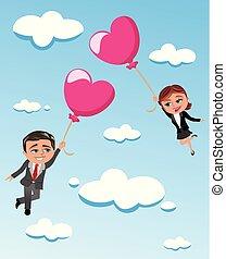 forme coeur, couple, voler, ciel, ballons