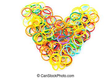 forme coeur, de, coloré, bandes cheveux