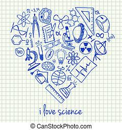 forme coeur, dessins, science