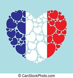forme coeur, drapeau, france