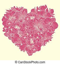 forme coeur, fleurs, composition