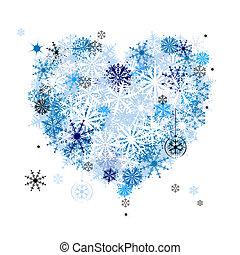 forme coeur, flocons neige, aimer, winter!