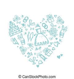 forme coeur, fond, conception, mariage, ton