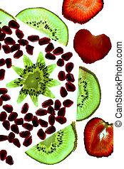 forme coeur, fruit étoile, tranches