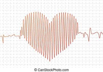 forme coeur, graphique, rouges, cardiogramme