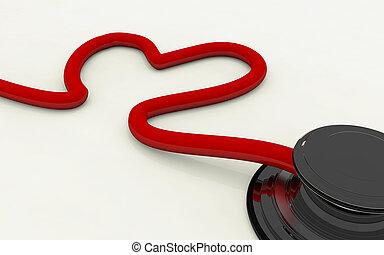 forme coeur, isolé, stéthoscope, fond, blanc