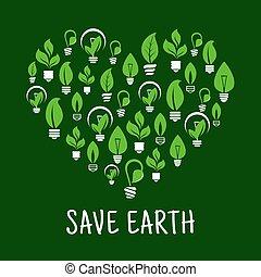 forme, coeur, lightbulbs, aimer, pousse feuilles