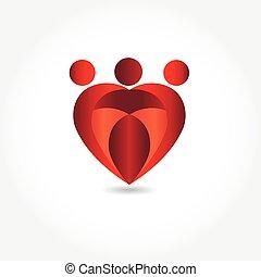 forme, coeur, logo, image, famille, vecteur