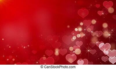 forme coeur, lumières, bokeh, étoiles, boucle
