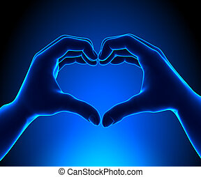 forme coeur, mains