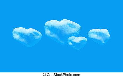 forme coeur, nuage, sky.