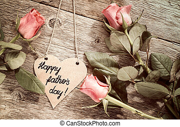 forme coeur, pères, roses, jour, carte