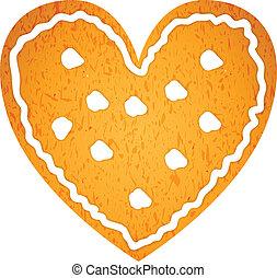 forme coeur, petit gâteau, pain épice